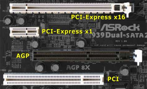 AGP, PCI, PCIe Slots together