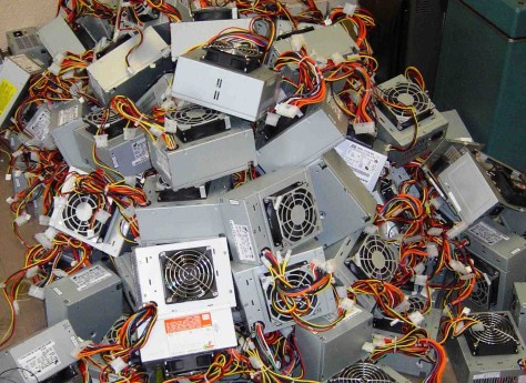 A pile of power supplies